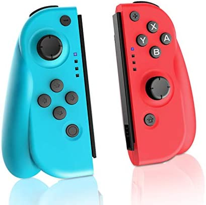 AVIDET Wireless Controller for Switch, Set of two Replacement Left Right Wireless Bluetooth Gamepad Joystick Controller ((L) Blue / (R) Red (Red)