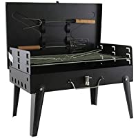 OnlineWorld Briefcase Style Portable Charcoal BBQ Barbecue, With Chrome Grill & Cooking Tools, Black