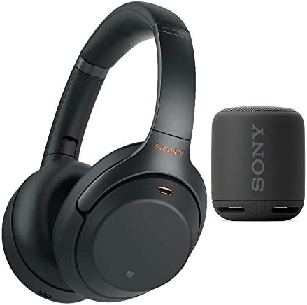 Sony WH-1000XM3 Wireless Noise-Canceling Over-Ear Headphones Black, with Carrying case Bundle Extra Bass Portable Wireless Bluetooth Speaker Bundle
