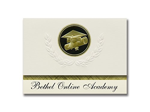 Signature Announcements Bethel Online Academy (Spanaway, WA) Graduation Announcements, Presidential style, Elite package of 25 Cap & Diploma Seal Black & Gold