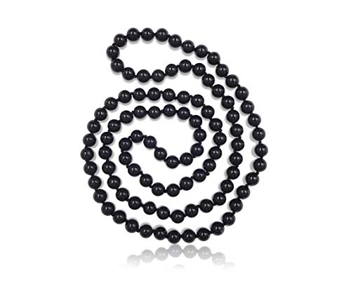 (MGR MY GEMS ROCK! 36 Inch 8MM Polished Genuine Black Onyx Stone Endless Infinity Long Beaded Strand Necklace.)