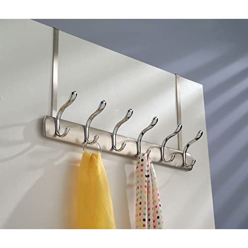 mDesign Over-the-Door 12-Hook Rack for Coats, Hats, Robes, Towels - Brushed/Chrome 30%OFF