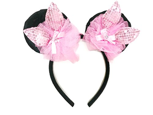 MeeTHan Mickey Minnie Mouse Ears Sequin Crystal Bows Kids Headbands : M13 (Pink1 - Tumblr Aviators