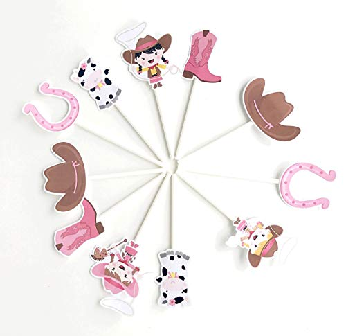 Cowgirl Cupcake Toppers 12 pcs - Pink Western Cake Picks Birthday Decoration Party Supplies, Girl Baby Shower Themed -
