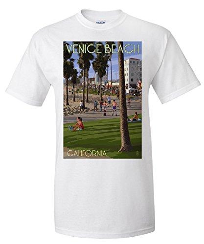 Venice Beach, California - Boardwalk Scene (White T-Shirt - Boardwalk Venice Shops Beach