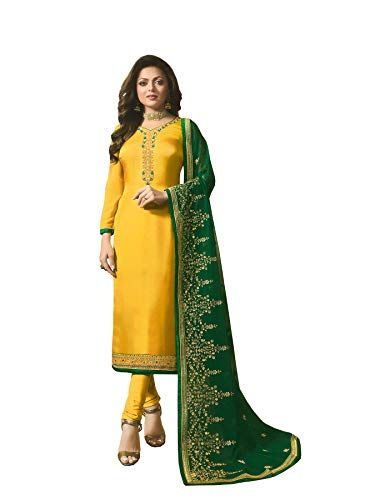 London Collection Glorious drashti dhami Floral Work Color with Matching Bottom and Dupatta Pakistani Straight Salwar Kameez (Yallow 1, Unstitch(Non Unstitch))