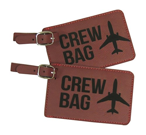 Crew Bag Tag, Set of Two with Graphic (Red)