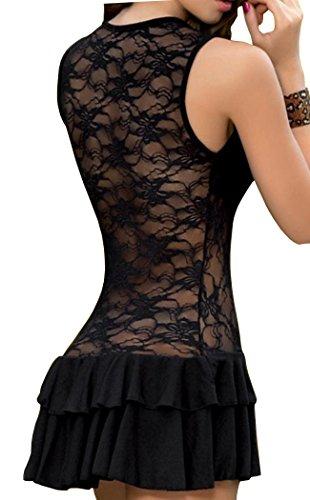 HO-Ersoka Negligee minivestido de encaje escote marcado incluido el string negro