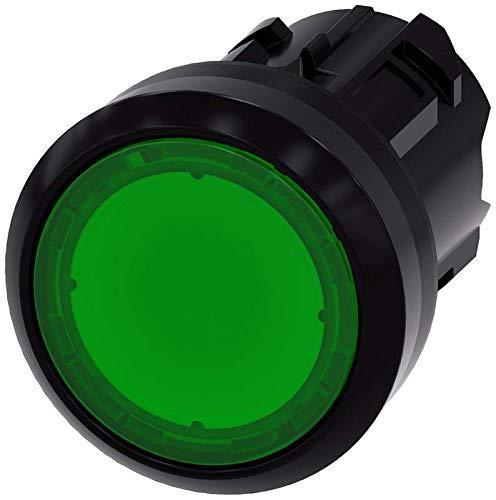 Siemens 3SU10010AB400AA0 Illuminated Pushbutton, Plastic, IP66, IP67, IP69K Protection Rating, Black Plastic, 22mm, Green