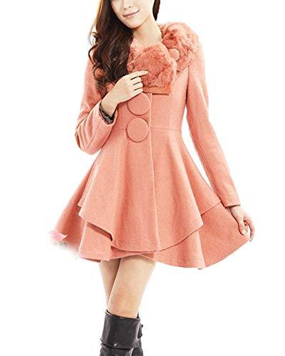 color Tamaño Fuweiencore Línea Abrigo Invierno Vestir Vestido Small De Exteriores Una Solapa Rosado Chaqueta Gruesa Prendas AF6xA