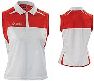 ASICS Polo Smanicata Tennis Donna Collo en Costina Caroline Rosso Bianco T577z7