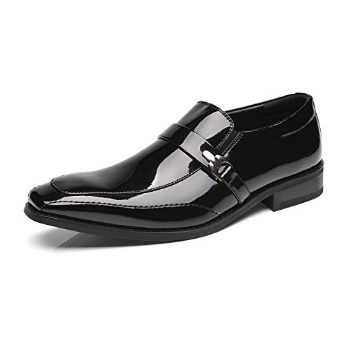 Faranzi Faranzi Patent Leather Tuxedo Shoes Wedding Shoes Strap and Buckle Slip-on Loafer Oxford Dress Shoes