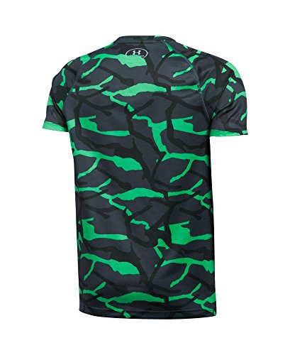Under Armour Boys' Big Logo Hybrid Printed T-Shirt, Youth X-Small, Vapor Green (Youth Vapor)