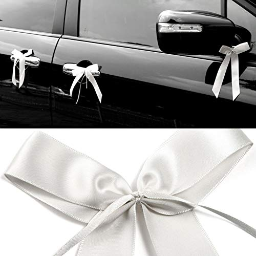 VGOODALL 100 STK. Autoschleifen Antennenschleifen Weiß Dekoschleifen Handgemacht Satinband für Auto Hochzeit Dekoration Feste