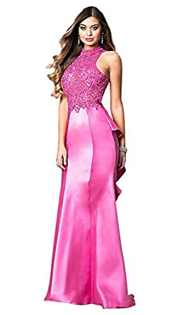 Women's High Neck Embroidered Prom Dress Back Open Ruffled Evening Party Prom Gowns