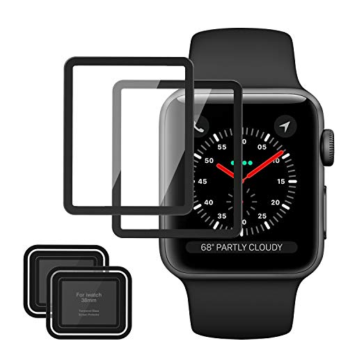 MoKo Tempered Glass Screen Protector Fit Apple Watch 38mm, [2-Pack] Premium HD Clear Shield Cover Anti-Scratch Film Fit iWatch 38mm Series 1/2 / 3 2017, Black (Not Fit Apple Watch 42mm)