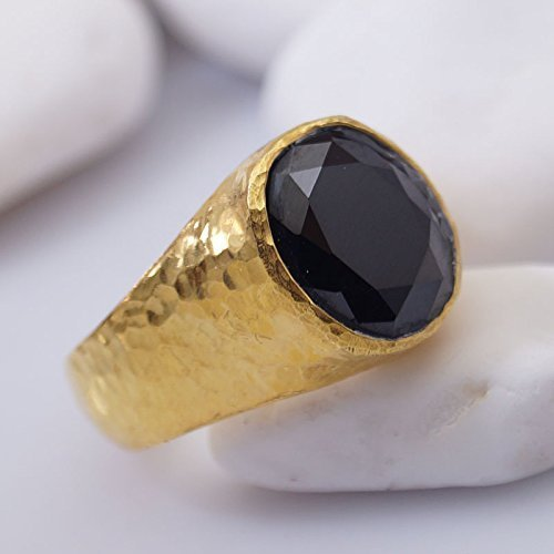 - Bold Collection Onyx Unisex Men's Ring By Omer Handmade 925 k Sterling Silver 24k Gold Vermeil