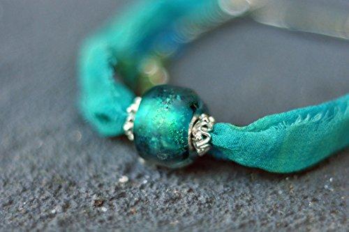 Three-strand Bracelet - Turquoise Bracelet - Silk Bracelet - Topaz Beads - Natural Stones - Lampwork Bracelet - Bracelet - Silver Bracelet