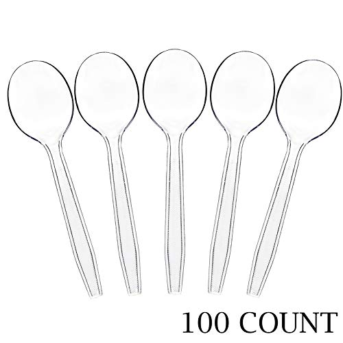 Plasticpro Clear Plastic Soup Spoons Disposable Cutlery Utensils 100 Count -