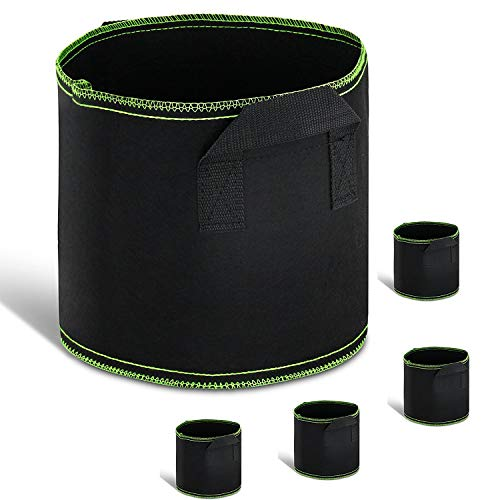 GROWNEER 5-Pack 5 Gallons Planting Grow Bags Aeration Fabric Pots w/ Handles