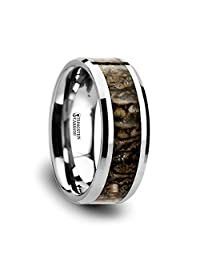 Thorsten Ordovician Polished Flat Style Tungsten Carbide Wedding Ring with Dinosaur Bone Inlay and Polished Beveled Edges Comfort Fit Lightweight Durable Wedding Band Rings - 8mm