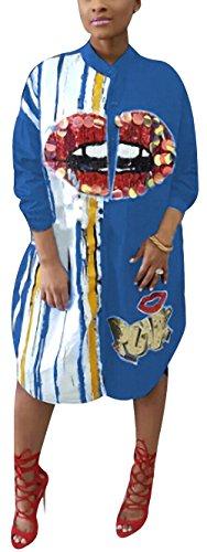 Morye Women's Sexy Floral Print Sequin Button Shirt Dress Long Sleeve Long Blouse Tops Blue XL ()