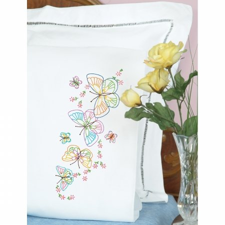 Jack Dempsey 1600 143 Stamped Pillowcases With White Perle Edge 2/Pkg-Fluttering Butterflies