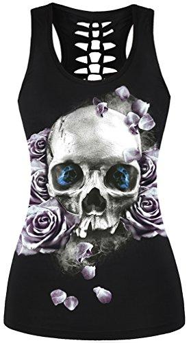 EmilyLe Mujer 3D Impresión Digital Gothic Punk Skull Tank Top sin mangas Stretch Vest 010