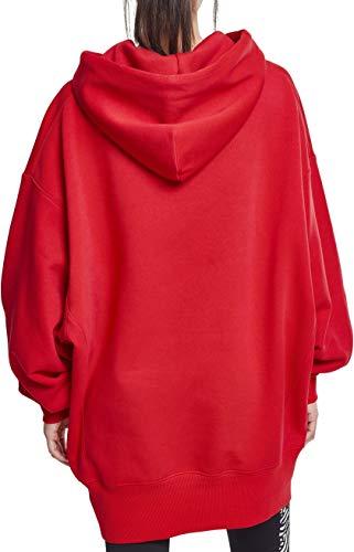 Sudadera Para Urban Fire Oversize Long Con Mujer Classics Red Hoody Ladies Capucha q8x8X1r