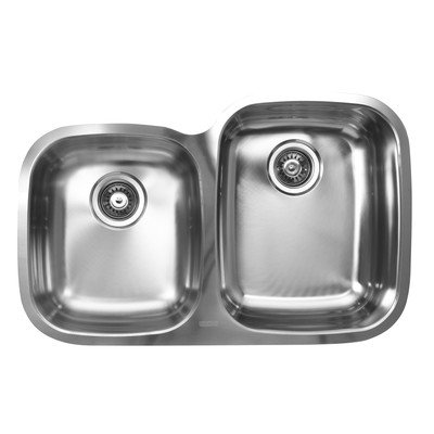 - Ukinox D376.60.40.10R Modern Undermount Double Bowl Stainless Steel Kitchen Sink