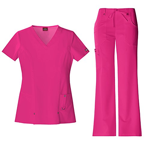 Dickies Xtreme Stretch Women's V-Neck Scrub Top 82851 & The Extreme Stretch Drawstring Scrub Pants 82011 Medical Scrub Set (Hot Pink - Small/Small)