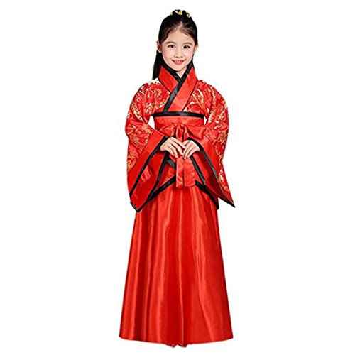 Ez-sofei Girls Ancient Chinese Han Dynasty Traditional Costume Set Hanfu Dresses (140, F-Red Floral) -