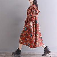 HEYG-Dress Vestir Moda Casual Falda Larga de Manga Larga con ...