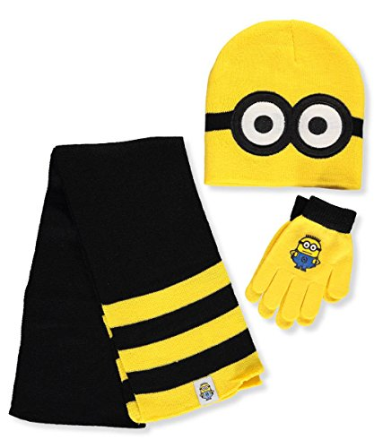 Despicable Me Little Boys' Pop Up Minions Beanie Glove and Scarf Set, Multi, One (Minion Gloves)
