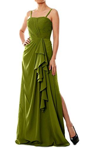 Straps Spaghetti Olive Green Women Formal Long MACloth Evening Gown Chiffon Dress Bridesmaid O4EwqnnxT6