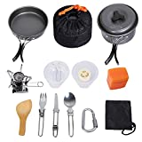 G4Free Outdoor Camping pan Hiking Cookware Backpacking Cooking Picnic Bowl Pot Pan Set 4/13 Piece Camping Cookware Mess Kit Knife Spoon(Grey)