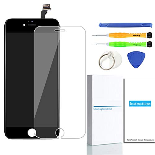 For iPhone 6 Screen Replacement (Black), LCD Touch Screen Digitizer Display Frame Assembly Kit with Repair Tools + Glass Screen Protector, iPhone 6 4.7 Inch Only from QIANZEY666