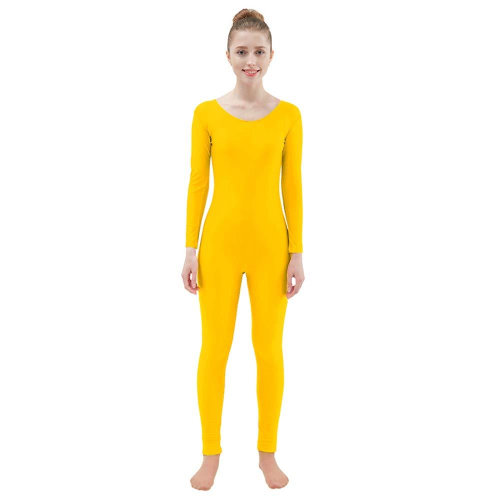Ensnovo Womens Spandex Bodysuit Long Sleeve Scoop Neckline Footless Unitard Yellow,S by Ensnovo