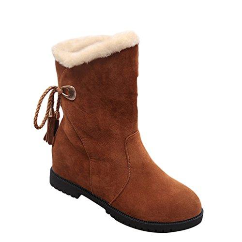 Oscuro Casual Nieve Moda Forrado Antideslizante Mujer Zapatos Invierno Calentar Dooxi Botines Atada Botas Marron xOH6Aqwf