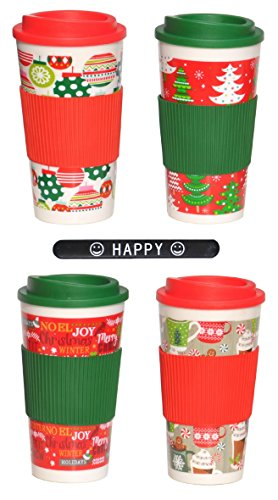 Christmas Holiday Mug (4 PACK Red Green Holiday Christmas Travel Mug Cup with Silicone Sleeve and HAPPY Slapstick Stocking Stuffer Christmas Gift Teacher Kids Boys Girls Mom Dad (DrinkSetA))