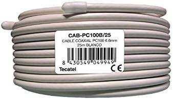 Tecatel Rollo de 25 Metros de Cable coaxial Blanco PC100: Amazon ...