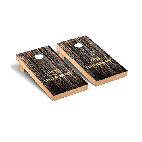 - Victory Tailgate Regulation Collegiate NCAA Weathered Series Cornhole Board Set - 2 Boards, 8 Bags - Southern Mississippi Golden Eagles