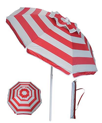 YATIO-6ft Beach Umbrella Sun Shelter with Tilt, Fiberglass Ribs, Telescopic Pole, Windproof Canopy, Carry Bag-Red Stripe