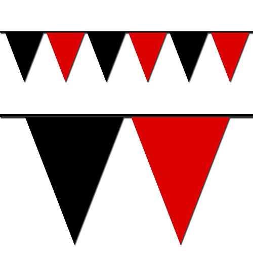 Ziggos Party Black and Red Triangle Pennant Flag 100 Ft.