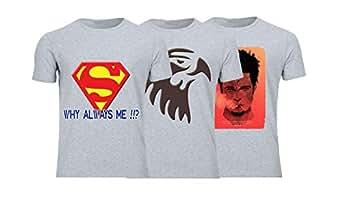 Geek ET1797 Set Of 3 T-Shirt For Men-Grey, 2 Xlarge