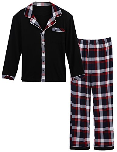 (Ekouaer Mens Flannel Pajamas, Long Cotton Pj Set, Red, X-Large)