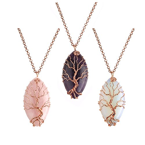 Jovivi 3pcs Vintage Tree of Life Copper Wrapped Marquise Shape Natural Amethyst Rose Quartz Gemstones Pendant ()