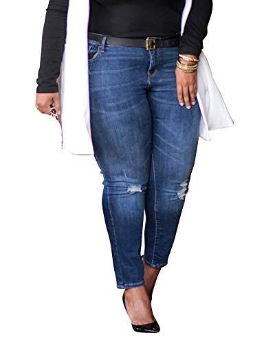 Quge Femme Dchir Jeans Stretch Jeans Casual Denim Pantalon De Plage Bleu Fonc