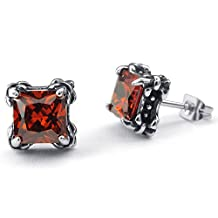 Konov Jewelry Mens Cubic Zirconia Stainless Steel Square Gothic Dragon Claw Stud Earrings, Red Silver, with Gift Bag, C24221