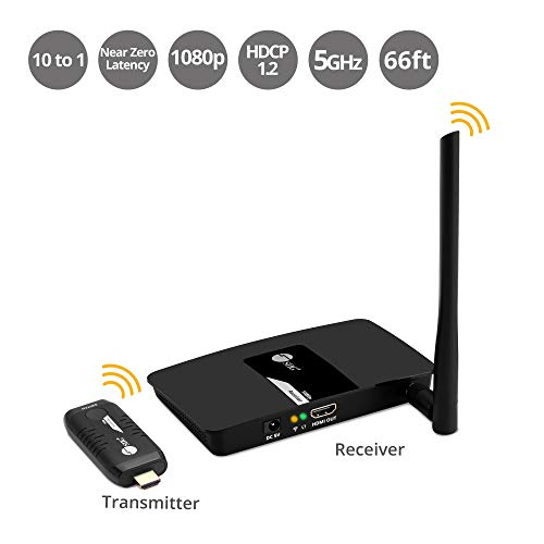 SIIG 1080p 10x1 Wireless HDMI Extender Kit (TX and Rx) Meeting Gateway Switch Full HD Video and Digital Audio from PC & More to HDTV/Projector - up to 10 Transmitters - Projection Digital Tv Audio